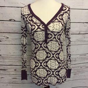 BKE Buckle large purple white geometric shirt